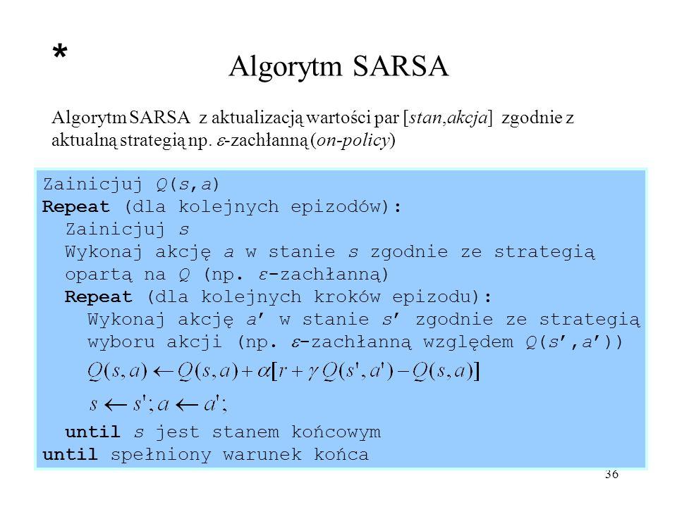 Algorytm SARSA * Algorytm SARSA z aktualizacją wartości par [stan,akcja] zgodnie z aktualną strategią np. -zachłanną (on-policy)
